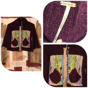 Free People XS Patchwork Boho Cardigan Sweater